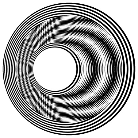 Abstract black and white striped round object. Geometric pattern with visual distortion effect. Illusion of rotation. Op art. Isolated on white background. Imagens - 117017119