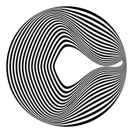 Abstract black and white striped round object. Geometric pattern with visual distortion effect. Illusion of rotation. Op art. Isolated on white background.