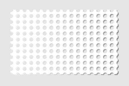 Perforated sheet of paper. Isolated on  gray background. Vector illustration.