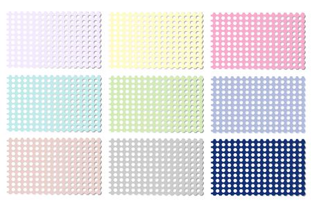 Set of multi-colored perforated sheets of paper. Isolated on white background. Vector illustration.