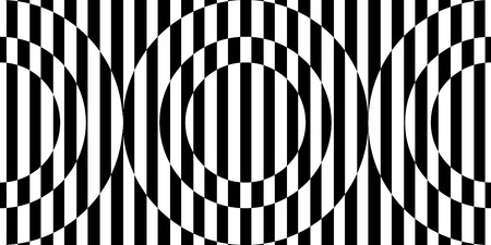 Abstract black and white striped background. Geometric seamless pattern with visual distortion effect. Optical illusion. Op art. Stock Vector - 114266475