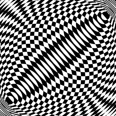 Abstract black and white striped background. Geometric pattern with visual distortion effect. Optical illusion. Op art. Foto de archivo - 117017190