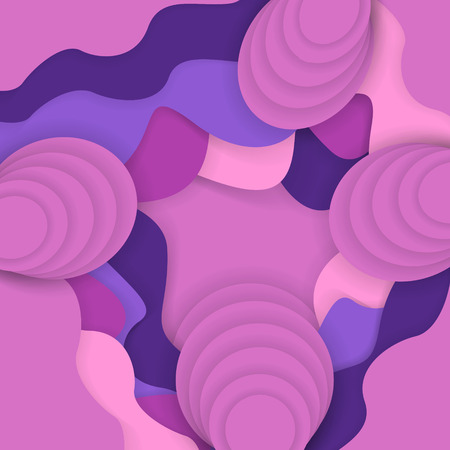 Abstract violet and pink background with paper cut waves. Trendy vector illustration. Ilustrace