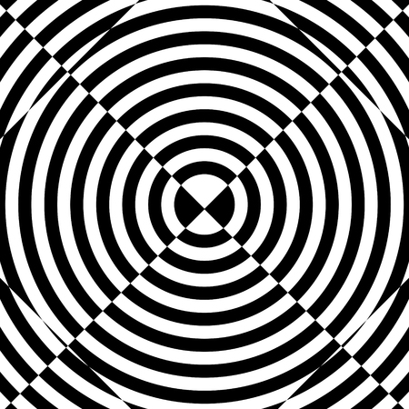 Abstract black and white striped background. Geometric pattern with visual distortion effect. Optical illusion. Op art. Foto de archivo - 117017203