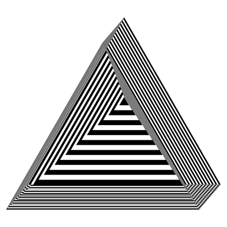 Abstract black and white striped triangular object. Geometric pattern with visual distortion effect. Optical illusion. Op art. Foto de archivo - 114266486