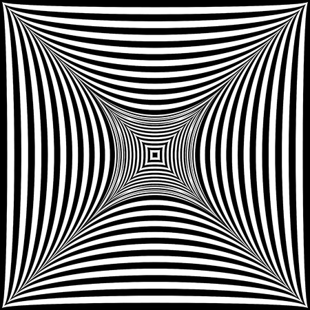 Abstract black and white striped background. Geometric pattern with visual distortion effect. Optical illusion. Op art. Foto de archivo - 117017207