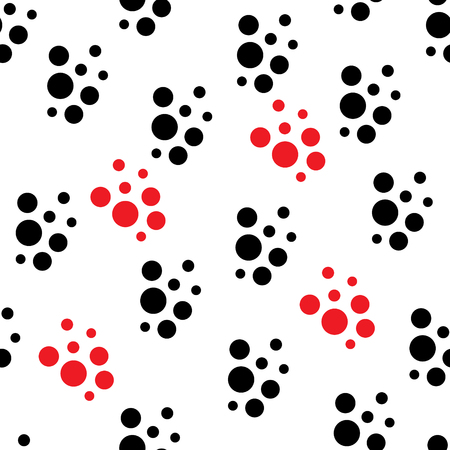 Seamless pattern in black and red dot. Geometric background with splashes. Vector spotted texture.