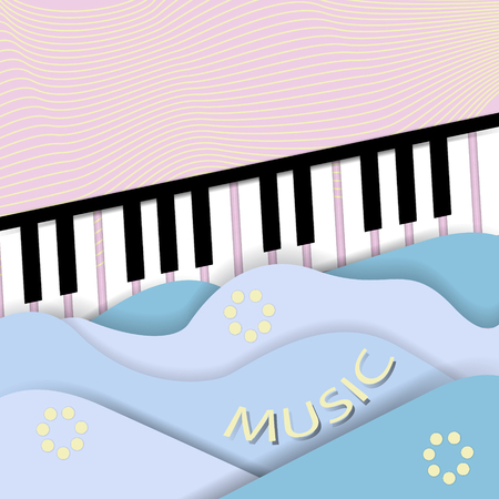 Fortepiano.Paper cut music background with piano keys and  sound wave. Vector illustration.