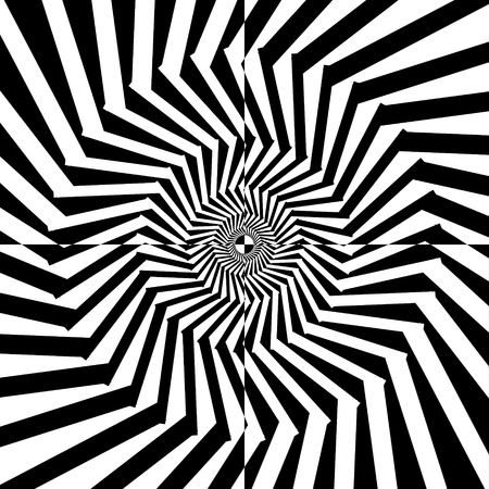 Abstract black and white striped background. Geometric pattern with visual distortion effect. Illusion of rotation. Op art. Stock Vector - 117017232