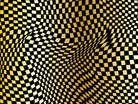 Abstract black and gold checkered background. Geometric pattern with visual distortion effect. Optical illusion. Op art.