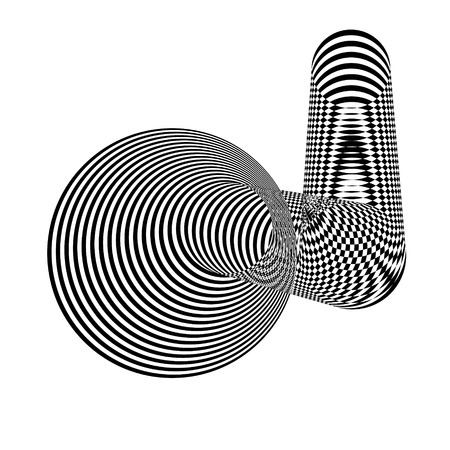 Abstract black and white striped shape. Geometric pattern with visual distortion effect. Optical illusion. Op art.Isolated on white background.