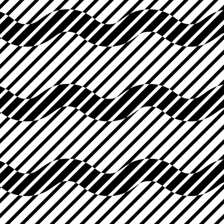 Abstract black and white striped background. Geometric seamless pattern with visual distortion effect. Optical illusion. Op art. Illustration