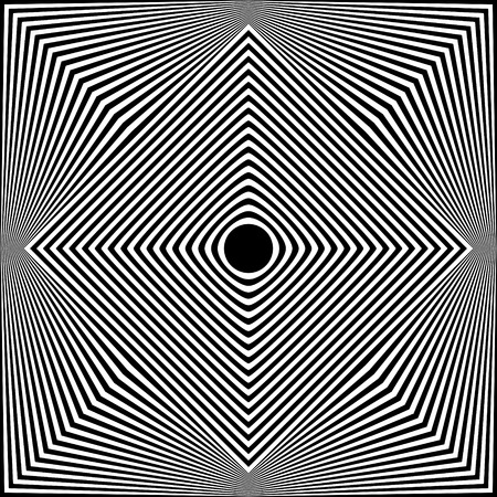 Abstract black and white striped background. Geometric pattern with visual distortion effect. Optical illusion. Op art. Stock Vector - 117017264