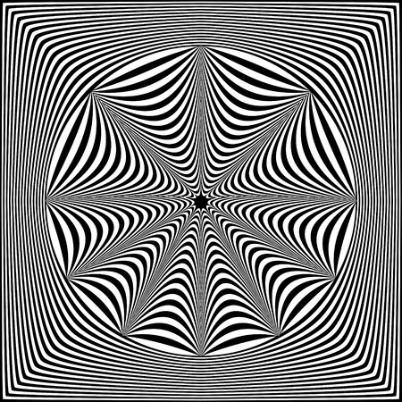 Abstract black and white striped background. Geometric pattern with visual distortion effect. Optical illusion. Op art. Foto de archivo - 117017270