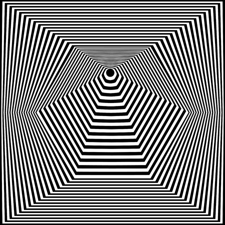 Abstract black and white striped background. Geometric pattern with visual distortion effect. Optical illusion. Op art. Foto de archivo - 117017271