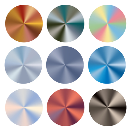Set conical gradients. Vector radial glossy background. Texture of foil, metal.