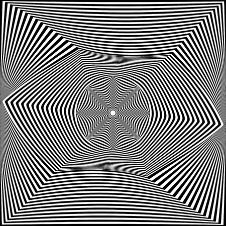 Abstract black and white striped background. Geometric pattern with visual distortion effect. Optical illusion. Op art. Foto de archivo - 117017285