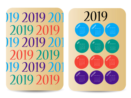 Calendar 2019. Colorful calendar with geometric print. Week starts from Sunday. Two-sided design.
