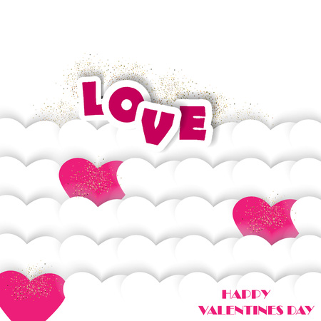 Vector greeting card with hearts and paper letters love. Romantic background for Valentine's Day and wedding invitations.