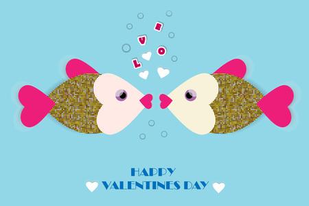 Besando peces Tarjeta de felicitación de vector con papel cortado peces y corazones. Fondo romántico para el día de San Valentín e invitaciones de boda.