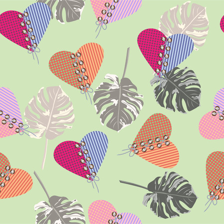 Seamless background with tropical leaves and hearts. Design for cloth, wallpaper, gift wrapping. Print for silk, calico and home textiles. Vintage natural pattern for Valentine's Day, weddings.