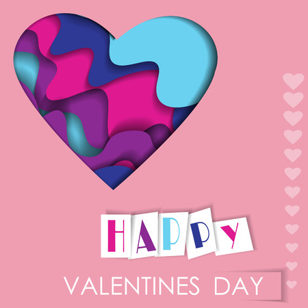 Vector greeting card with paper cut heart. Romantic background for Valentine's Day and wedding invitations.  イラスト・ベクター素材