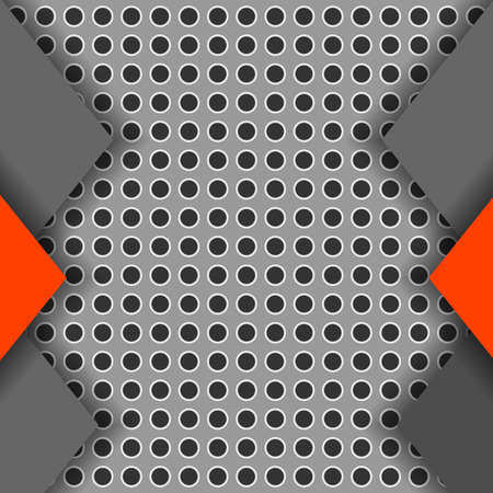 Gray and red paper cut background. Abstract perforated texture with papercut layers. Decorative template for covers, banners, posters. 3d effect. Vector.