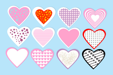 Set of colorful paper cut heart.Template for Valentine's Day, Weddings, Birthday, Mother's Day, Women's Day. Isolated on  blue background. Vector.
