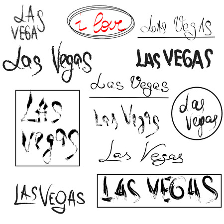 Set of hand drawn lettering - I love Las Vegas.  Name of  city in different spellings. Design element. Vector. Isolated on white background. Illustration