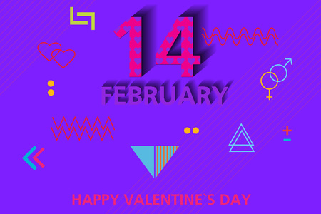 Happy Valentine's Day. Minimal modern background in the style of memphis. Design for posters, banners, cards, covers.