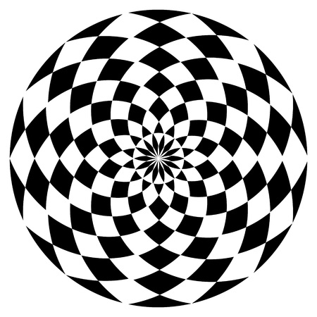 Round checkered decorative element. Geometric design element. Vector.