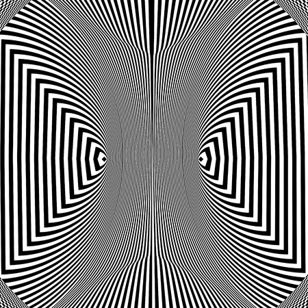 Abstract black and white striped background. Geometric pattern with visual distortion effect. Optical illusion. Op art. Stock Vector - 123636533