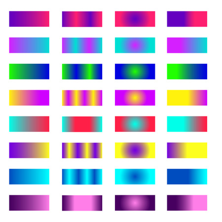 Big set of two-color gradients.Collection of colorful gradients with glossy texture for design of covers, banners, posters and other creative projects.Vector.