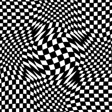 Abstrakter karierter Schwarzweiss-Hintergrund. Geometrisches Muster mit visuellem Verzerrungseffekt. Optische Täuschung. Op-Art. Vektorgrafik