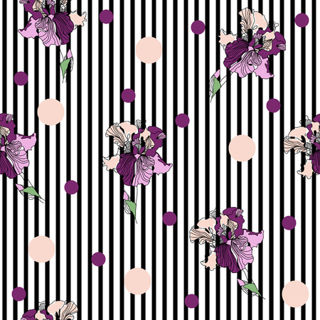 Seamless pattern with beautiful irises and geometric shapes on  striped background. Hand-drawn floral background for textile, cover, wallpaper, gift packaging, printing.Romantic design for calico, silk.