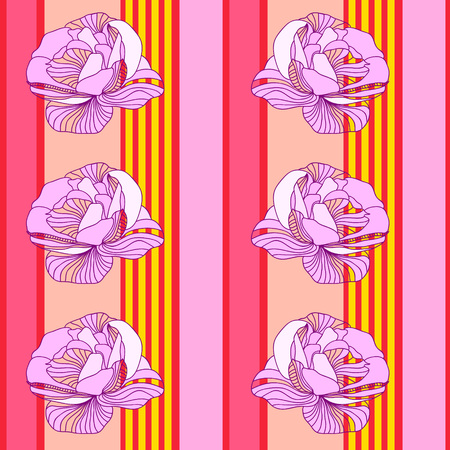 Seamless pattern with beautiful roses on  striped background. Hand-drawn floral background for textile, cover, wallpaper, gift packaging, printing.Romantic design for calico, silk.Vector. Ilustração