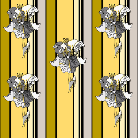 Seamless pattern with beautiful irises on  striped background. Hand-drawn floral background for textile, cover, wallpaper, gift packaging, printing.Romantic design for calico, silk.Vector.