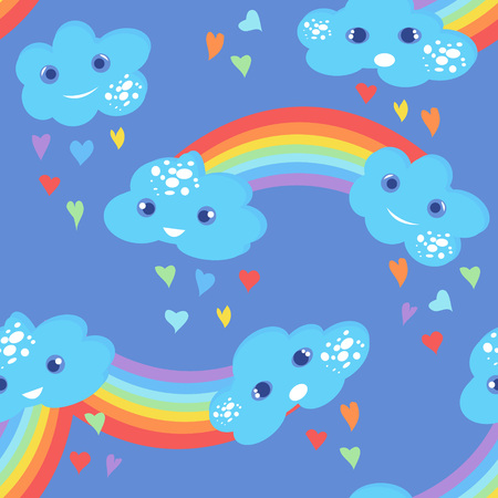 Seamless kids pattern with clouds and rainbow. Hand-drawn cute background for kids. Design for fabric, wallpaper, textiles, packaging, vrapping, covers, printing. Vector illustration.