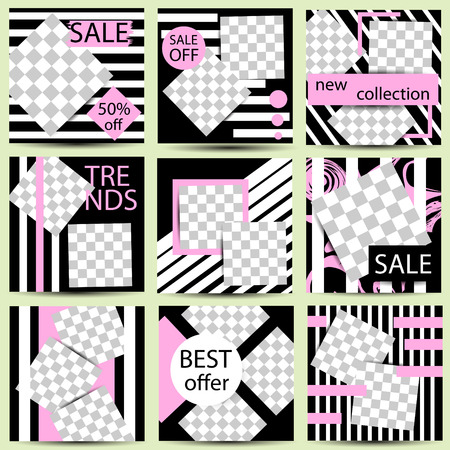 Set of trendy templates for social network stories. Vector background for social networks. Abstract minimal design.