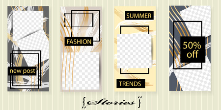 Set of trendy templates for social network stories. Vector background for social networks.