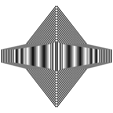 Abstract black and white geometric shape with  striped and checkered texture. Geometric pattern with visual distortion effect. Optical illusion. Op art. Ilustração