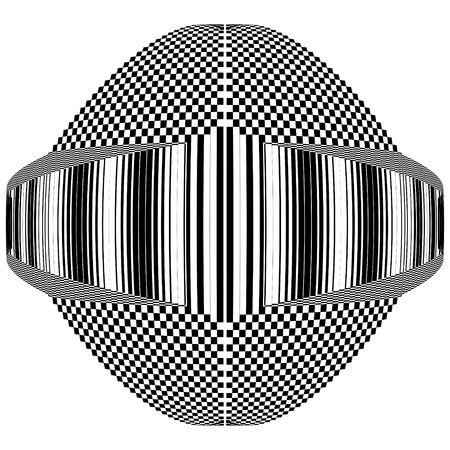 Abstract black and white geometric shape with  striped and checkered texture. Geometric pattern with visual distortion effect. Optical illusion. Op art. Illustration