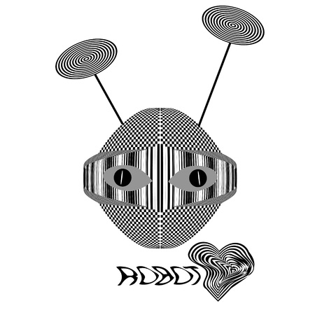 Robot head. Abstract image of robot with  effect of visual distortion. Black and white striped and checkered texture.