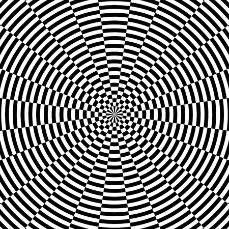 Abstract black and white circular striped background. Geometric pattern with visual distortion effect. Optical illusion. Op art.