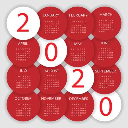 Calendar 2020. Colorful calendar with paper cut effect. Week starts from Sunday. Ilustração