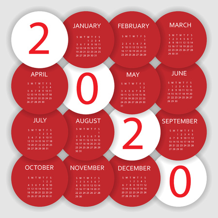 Calendar 2020. Colorful calendar with paper cut effect. Week starts from Sunday. Illustration