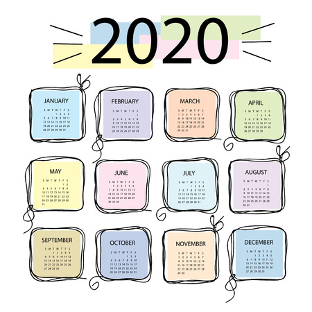 Calendar 2020. Colorful vector template with square frames in doddles style. Week starts on Sunday. Illustration