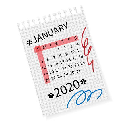 Calendar for January 2020. Vector calendar template on checkered sheet of paper .Hand drawn scribble elements.Week starts on Sunday.