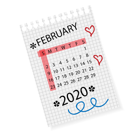 Calendar for February 2020. Vector calendar template on checkered sheet of paper. Hand drawn scribble elements. Week starts on Sunday.
