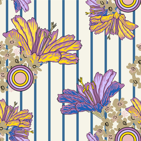 Vintage seamless pattern with beautiful garden flowers. Hand-drawn floral background for textile, cover, wallpaper, gift packaging, printing.Romantic design for calico, silk.Vector. Illustration